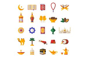 Set of Ramadan Kareem Icons Isolated on White
