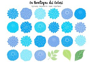 Blue Dahlia Flowers Vector Clipart