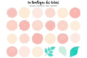 Pink and Mint Flowers Vector Clipart