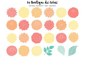 Mint and Orange Peony Clipart
