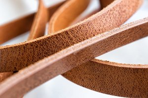 DIY: Brown natural leather strips