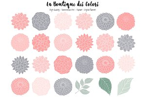 Pink and Gray Flowers Vector Clipart