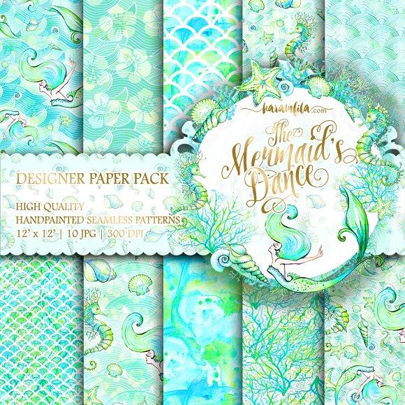 Mermaid Patterns In Aqua Blue Teal