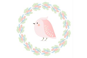 Cute bird in feathers wreath