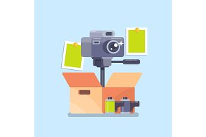 Camera equipment flat isolated vector illustration