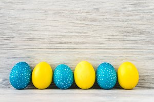 Bright yellow and blue Easter eggs
