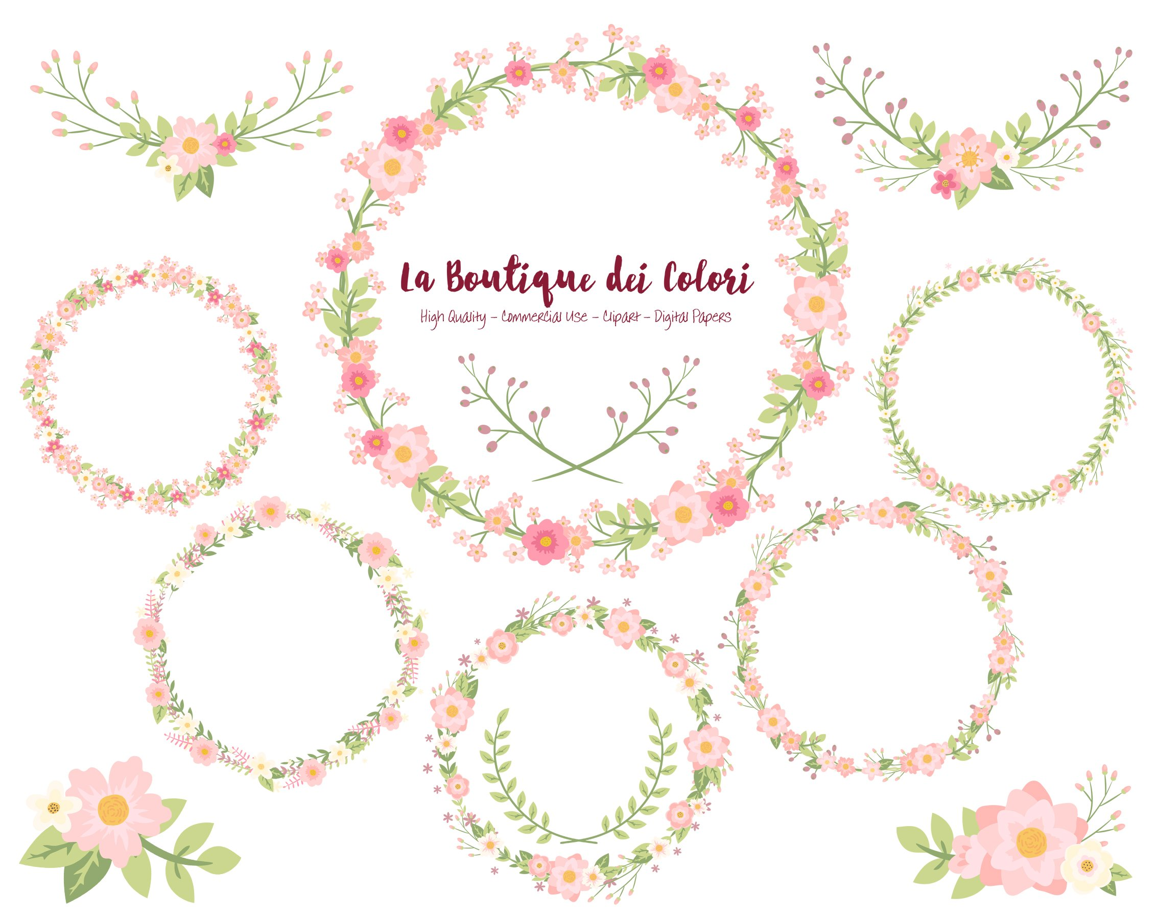 Pink Flower Wreath Vectors