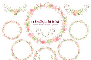 Pink Flower Wreath Vectors