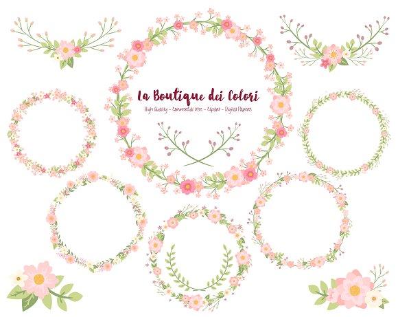 Pink flower wreath vectors illustrations creative market mightylinksfo