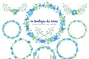 Blue Flower Wreath Clipart