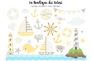 Yellow and Gray Nautical Clip Art