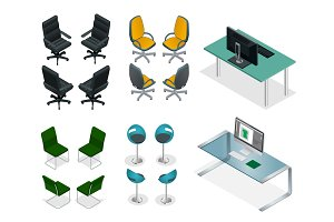 Isometric set of office chairs and tables. Easy VIP Office Furniture on a white background