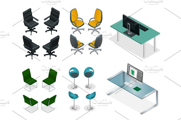 Isometric Set Of Office Chairs And Tables Easy VIP Office Furniture On A White Background