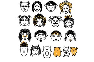 Doodle people faces