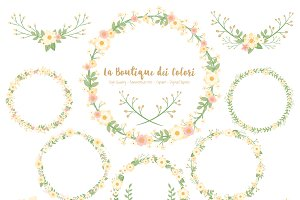 Ivory Flower Wreath Vector Clipart