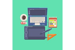 Workplace of a designer Flat design style modern vector illustration icons