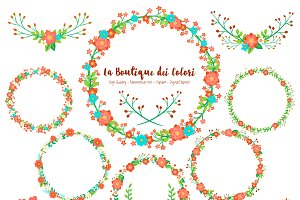 Christmas Flower Wreath Clipart