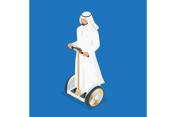 Arabic man on self-balancing electr…