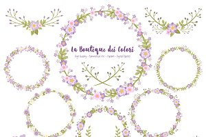 Purple Flower Wreath Clipart