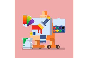 Art Studio illustration Set of Tools and Materials for Creativity and Painting Flat vector