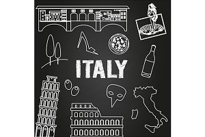 Italy travel symbols on chalkboard
