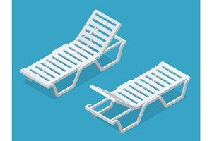 Beach chairs isolated