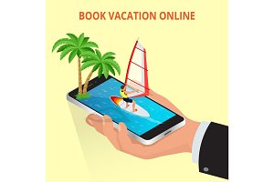 Modern vector concept of traveling,booking online, planning a su