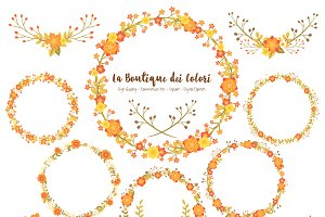 Fall Flower Wreath Vector Clipart