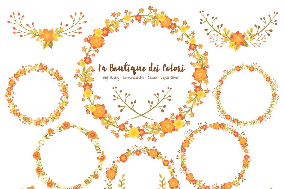 Fall Flower Wreath Vector Clipart Illustrations Creative