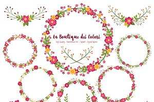 Ruby Red Flower Wreath Clipart