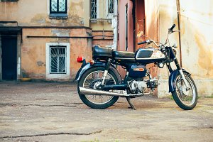 Old blue with chrome motorcycle