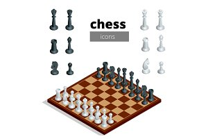Chess icons. Flat 3d isometric vector illustration. White board