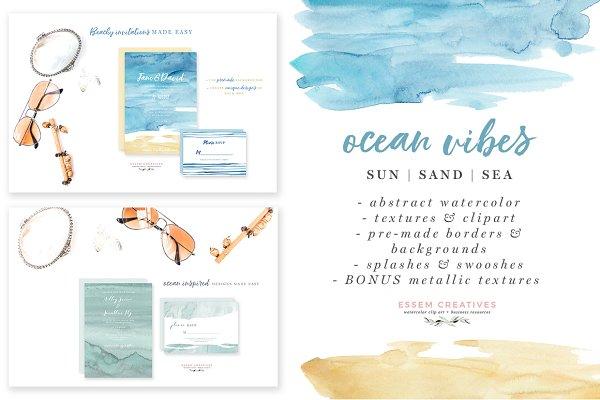 Ocean & Beach Watercolor Background…
