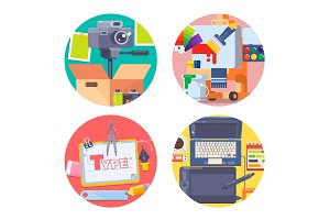 Graphic design concept icons set with photography symbols isolated vector