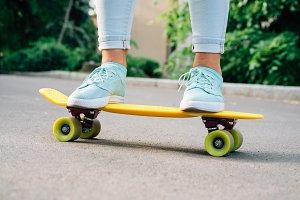 Girl goes on a skateboard