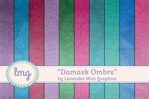 Damask Ombre Scrapbook Papers