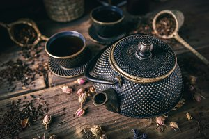 Asian tea set concept