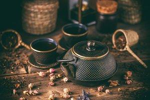 Still life of cast iron teapot