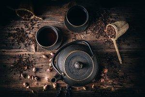Top view of asian iron tea set