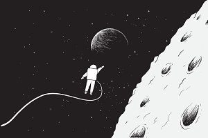 Astronaut near the Moon