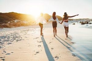 Young women strolling
