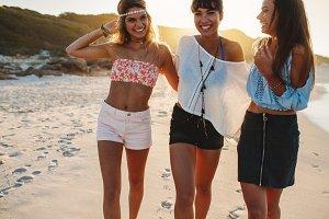 Stylish young women walking