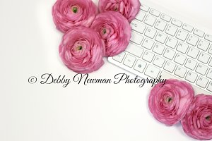 Keyboard & Pink Ranunculus Mock Up 1