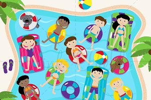 Pool Party Clipart and Vectors