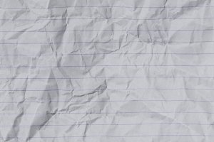 White crumpled lined paper