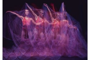 photo as art - a sensual and emotional dance of beautiful ballerina through the veil