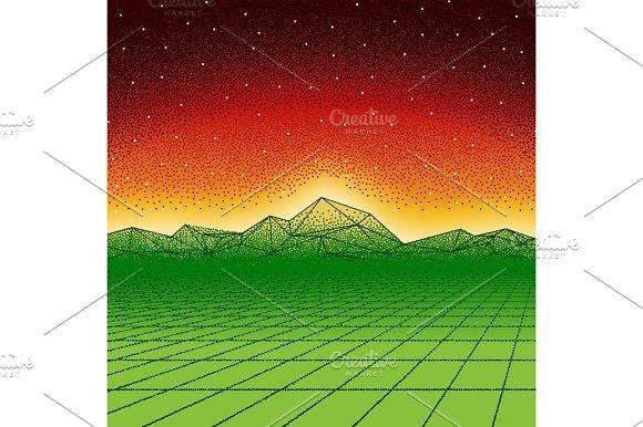 Retro hipster dotwork landscape with triangular mountains