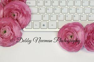 Keyboard & Pink Ranunculus Mock Up 2