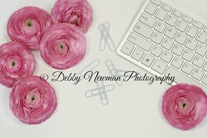 Keyboard & Pink Ranunculus Mock Up 3