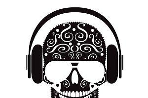 Skull with headphones vector black